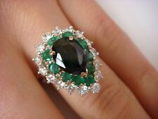 EXQUISITE PLATINUM GREEN TOURMALINE, EMERALDS AND HALO DIAMONDS RING, SIZE 5.5