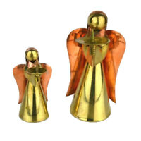 "Set of 2 Vintage Christmas Copper Brass Angel Taper Candle Holders 6"" and 4"""