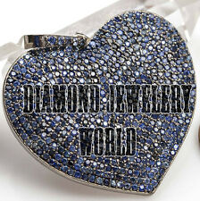 Artdeco Estate Pave Sapphire Studded Sterling Silver Heart Shape Pendant Jewelry