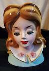 """Gorgeous Lady Head Vase - Josef Originals Rare 6""""+ Roses & Gold Collar Trim"""
