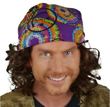 Fancy dress Bandana and Curly Brown Wig Set. Tie dye. Hippie, 70's, Surf, Roadie