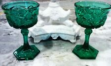 Pair of  Short Green Stem Crystal Cut Glasses Glassware Goblets