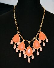 Coral Tone Fashion Statement Necklace Flat Faceted & Bauble Bead Gold Tone