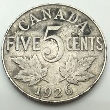 1926 Canada Near 6 Six Five 5 Cents Canadian Nickel Circulated Coin C694 Z