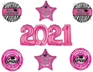 Graduation Class of 2021 Zebra Pink Numbers Party balloons decorations supplies