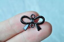 15pcs Black Plated Bowknot Charm Connector Knot Pendant Butterfly 22x15mm 0P69