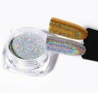1g Laser Gold Silver Holographic Shiny Chrome Effect Powder Mirror Nail Glitter