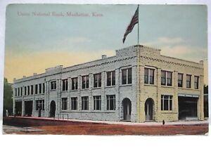 "1910 POSTCARD  ""  UNION NATIONAL BANK, MANHATTAN KANS. """