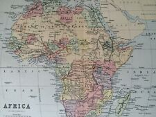 Africa Original Antique Encyclopaedia Map Vintage Old Colonialism Continent