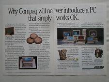 8/1990 PUB COMPAQ COMPUTER PC ORDINATEUR DESKPRO 386 286 ORIGINAL AD