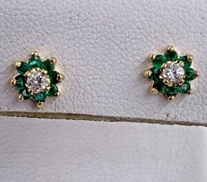 14K Yellow Gold .59tcw Diamond And Emerald Earrings
