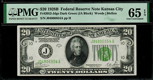 1928B $20 Federal Reserve Note Kansas City FR.2052-J - Graded PMG 65 EPQ