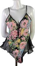 Victoria's Secret Intimate Lingerie Gold Label Snap Crotch Floral Black Pink S