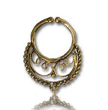Ring Nose Bali Tribal 18Mm Long Cheater Ornate Fake 16G Brass Hanging Septum 9Mm