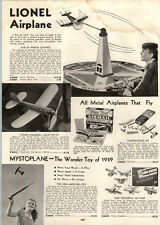 1939 PAPER AD Lionel Toy Airplane Remote Control RC Flyin Fool Tootsietoy Planes