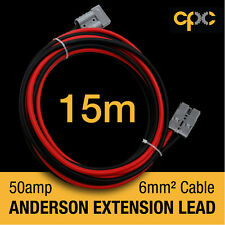 15m 50A AMP ANDERSON PLUG style Extension cable Battery 4x4 4WD CARAVAN SOLAR 12