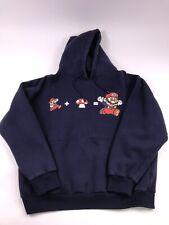 Nintendo Mens XL Blue Super Mario Brothers Hoodie Hooded Sweatshirt Mushroom