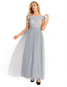 US Women Lace Tulle Prom Bridesmaid Dress Formal Wedding Ball Gown Evening Party