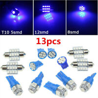 13x LED Bulbs Blue Car Interior T10 & 31mm Map Dome License Plate Light Lamp Kit