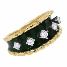 Vintage Antique Tiffany&Co. 18K Yellow Gold Diamond Green Enamel Ring Size 4.75