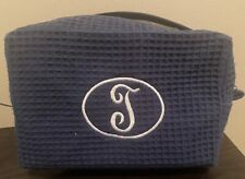 """DEB Essentials Waffle Toiletry Cosmetic Makeup  Bag with """"T""""Monogram Embroidered"""