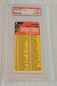 Key Vintage 1970 Topps NBA Basketball #24 Checklist PSA GRADED 6 (MC) Slabbed