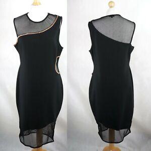 RIVER ISLAND Sleeveless Mesh Bodycon Pencil Dress Size UK 18 Little Black dress