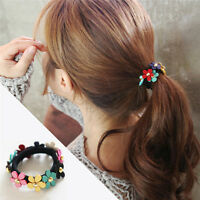 2pcs Women Girls Flower PonyTail Elastic Rubber Hair Band Tie Rope Ring Hot WL