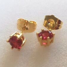 6-pin Small deep pink 5mm round stud earrings 18ct gold filled GIFTBOXED Plum UK
