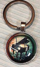Beautiful stainless steel split key ring BABY GRAND PIANO BAND Music JAZZ