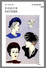 Beret Vintage Vogue Millinery Beret Hat Fabric material sewing pattern # 8194