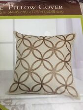 Pillow Cover 17.5 X 17.5 Square Brown Linen Geometric Pattern