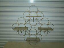 "Vintage MCM~RETRO Gold Circles Design Wire Metal Mesh Wall Shelf 29"" x 29"" !!"