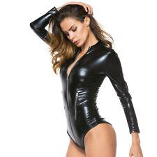 Bodysuit Sexy Dessous Long Sleeve Clubwear Leder Optik