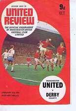 Manchester United v Derby 31 JAN 1970 programme
