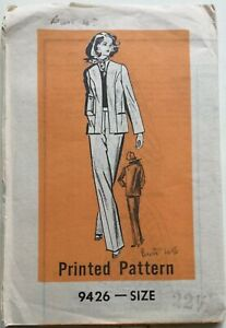 VTG 70s Printed Sewing Pattern 9426 Jacket & Trousers Size 22.5 Bust 45