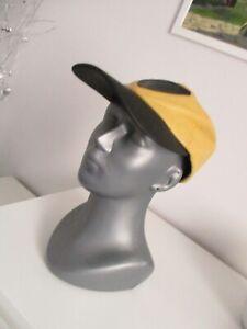Vintage GIANNI VERSACE genuine leather hat,cap yellow-black