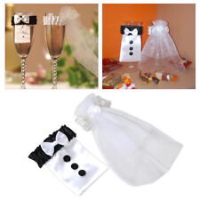 2pcs Bride & Groom Wedding Wine Glass Veil Champagne Flute Glass Cover Decor