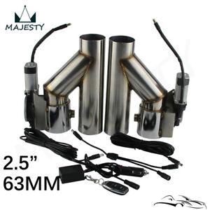 """2.5"""" Dual Electric Exhaust Cutout Dump Bypass Valve Wireless Remote Control Kit"""