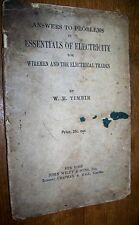 1914 Essentials Of Electricity Answers To Problems Wm Timbie Book Electrician