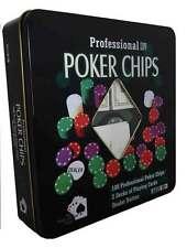 Poker Game Set - 100 Chips, 2 Decks of Cards, Dealers Button
