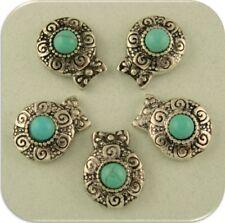 2 Hole Beads Faux Turquoise with Raised Filigree Sun Swirls & Dots Sliders QTY 5