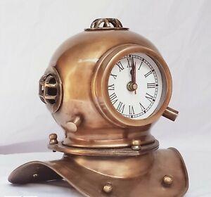 Vintage Diving Divers Helmet Clock Style US Navy Deep Sea Divers Table Clock
