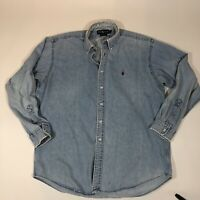 Vtg Polo Ralph Lauren Blake Distressed Denim Long Sleeve Shirt Blue Men XL
