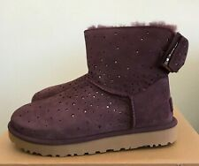 UGG Womens Stargirl Bow Mini Boots Port Purple Size 7 Sheepskin Warm Winter