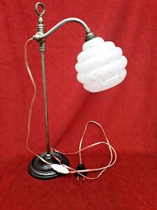 Lampe De Bureau Ancienne, Col De Cygne, monte et baisse, opaline moucheté