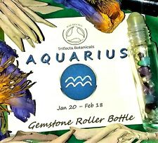 AQUARIUS Zodiac Roller Bottle Crystal Set for Essential Oil Astrology Wicca Gift