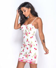 Women's White Floral Embroidery Bustier Mini Dress Sizes 6 8 10 12 14
