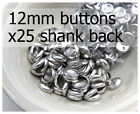 12mm self cover metal BUTTONS SHANK backs (sz 20) 25 QTY + FREE instructions