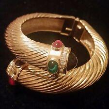 Givenchy Signed Vintage Hinged Bangle Bracelet Gold Plated Art Glass Rhinestones